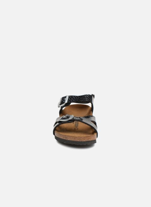 Sandalen Birkenstock Rio Plain Birko Flor schwarz schuhe getragen