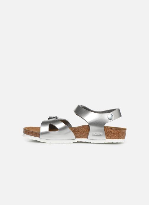 Sandales et nu-pieds Birkenstock Rio Birko Flor Argent vue face