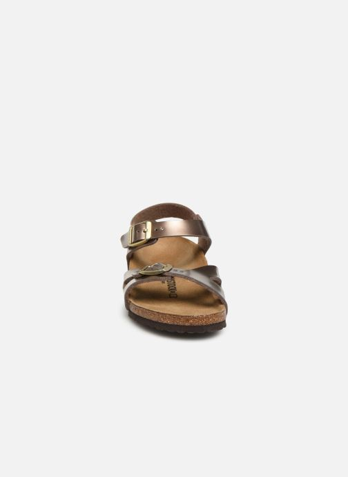 Sandalen Birkenstock Rio Plain Birko Flor gold/bronze schuhe getragen