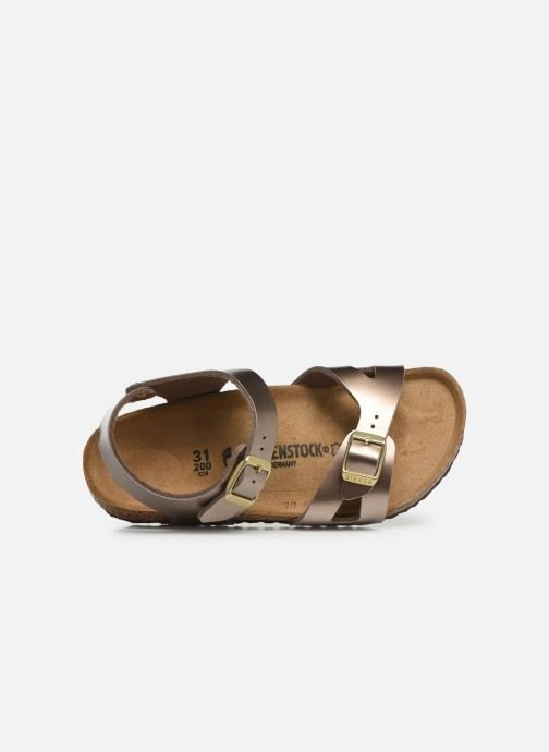 Sandals Birkenstock Rio Birko Flor Bronze and Gold view from the left