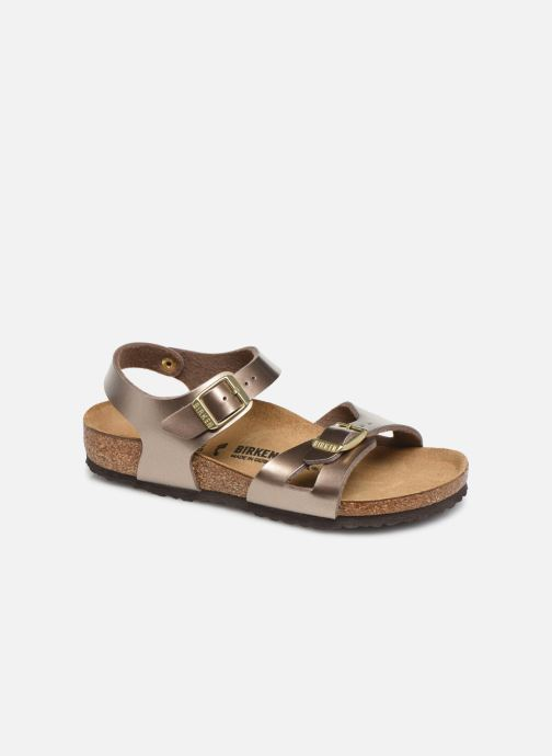 Sandals Birkenstock Rio Birko Flor Bronze and Gold detailed view/ Pair view