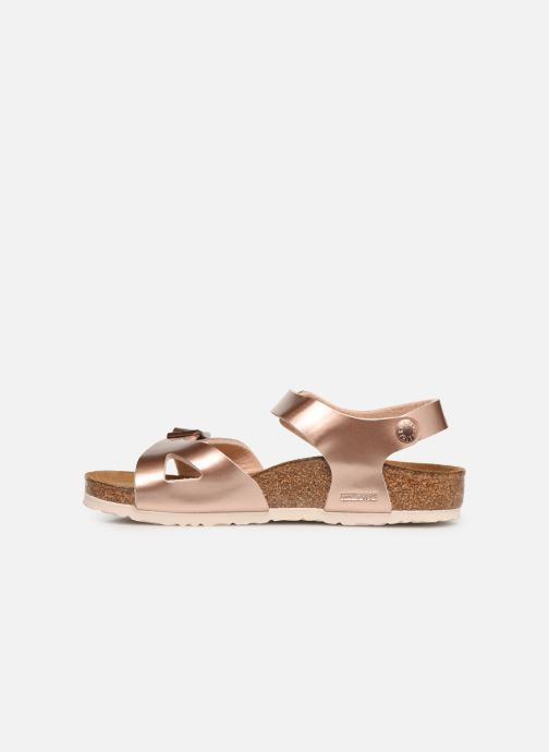 Sandales et nu-pieds Birkenstock Rio Plain Birko Flor Or et bronze vue face