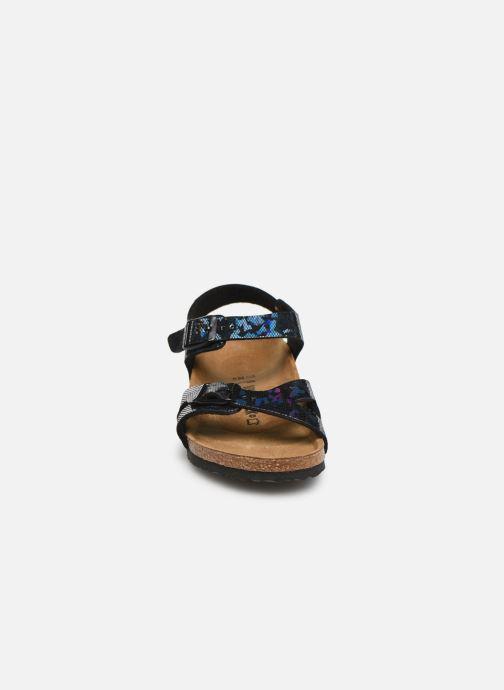 Sandalen Birkenstock Rio Birko Flor schwarz schuhe getragen