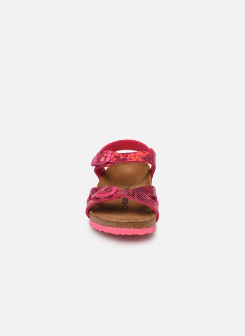 Sandalen Birkenstock Rio Birko Flor rosa schuhe getragen
