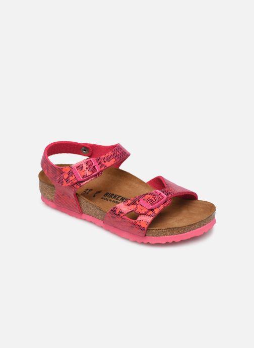 Sandals Birkenstock Rio Birko Flor Pink detailed view/ Pair view