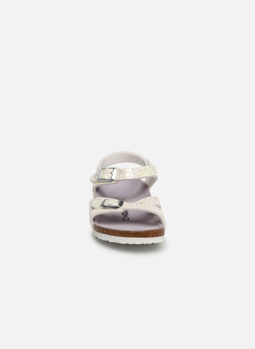 Sandalen Birkenstock Rio Birko Flor weiß schuhe getragen