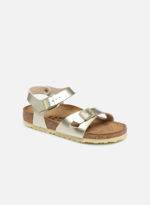Sandales et nu-pieds Birkenstock Rio Plain Birko Flor Or et bronze vue détail/paire