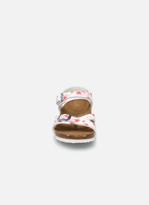 Sandalen Birkenstock Rio Plain Birko Flor weiß schuhe getragen