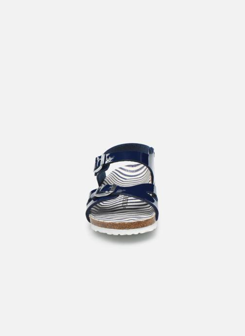 Sandali e scarpe aperte Birkenstock Rio Birko Flor Azzurro modello indossato