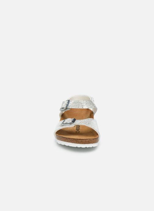 Sandalen Birkenstock Rio Plain Birko Flor silber schuhe getragen