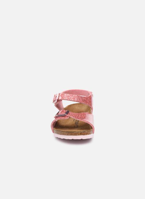 Sandalen Birkenstock Rio Plain Birko Flor rosa schuhe getragen