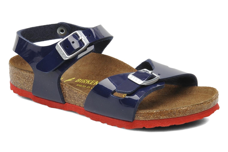Sandales et nu-pieds Birkenstock Rio Birko Flor Bleu vue détail/paire