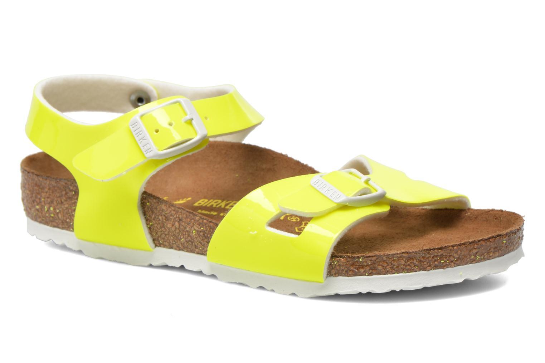 Sandals Birkenstock Rio Birko Flor Yellow detailed view/ Pair view