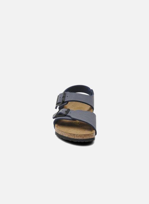 Sandali e scarpe aperte Birkenstock New York Birko Flor Azzurro modello indossato
