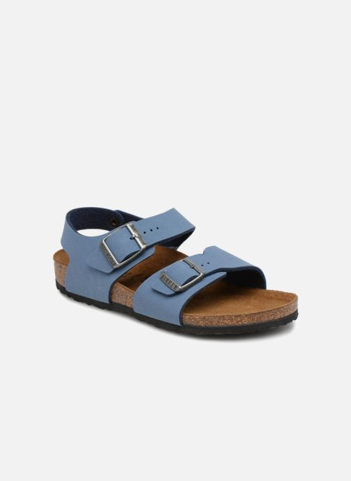 Sandals Birkenstock New York Birko Flor Blue detailed view/ Pair view