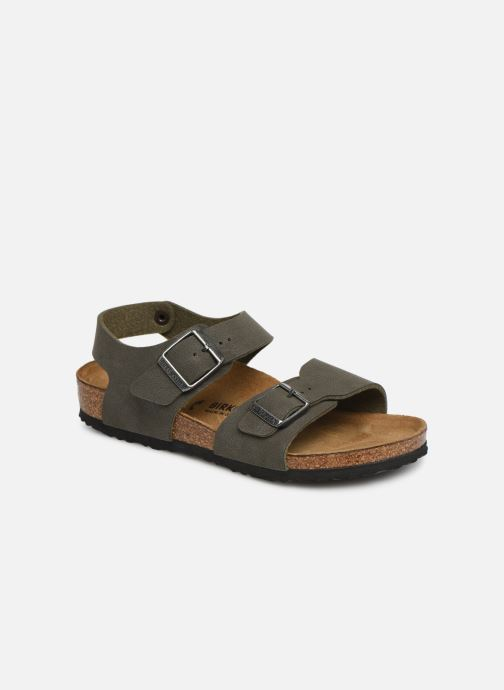 Sandals Birkenstock New York Birko Flor Brown detailed view/ Pair view