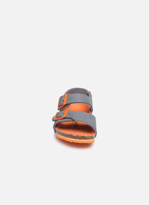 Sandalen Birkenstock New York Birko Flor grau schuhe getragen