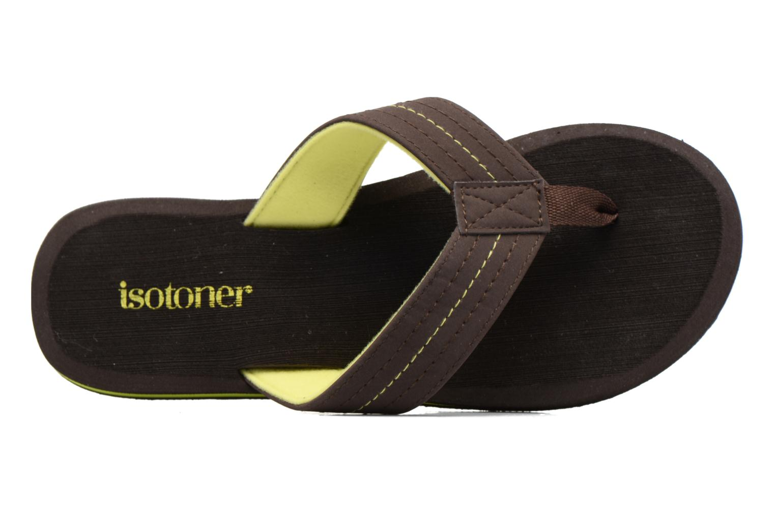 Flip flops Isotoner Tong Yoga Homme Brown view from the left