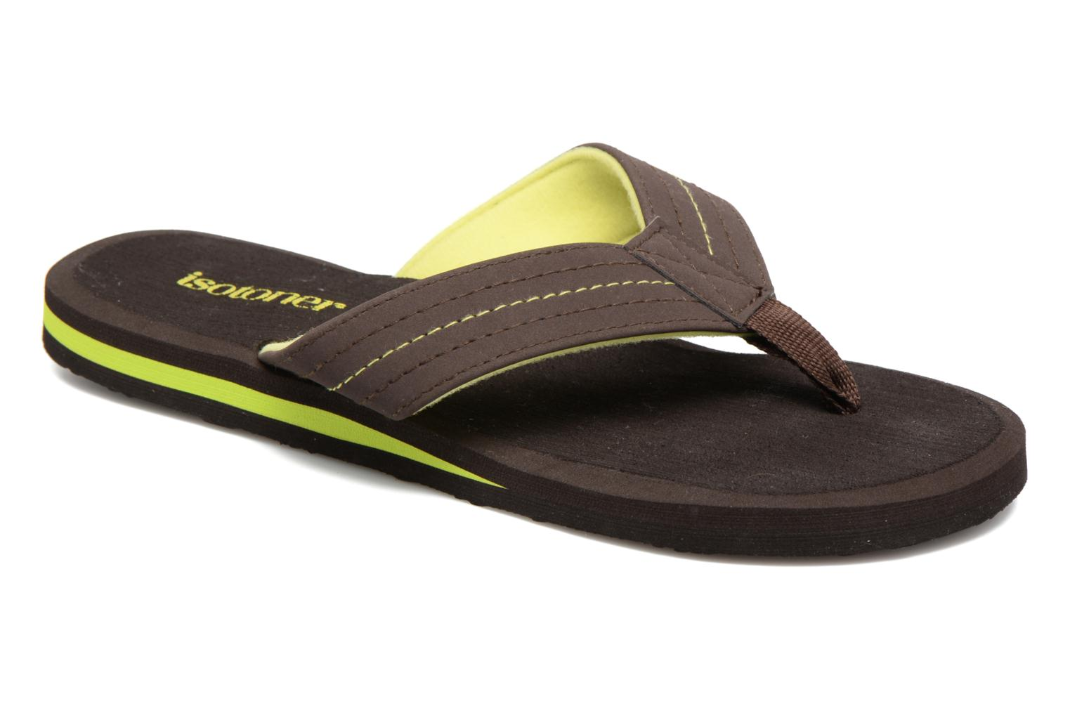 Flip flops Isotoner Tong Yoga Homme Brown detailed view/ Pair view