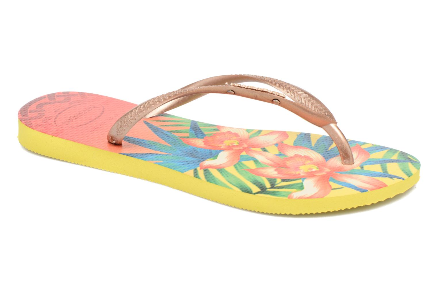 Slippers Havaianas Slim Tropical Geel detail