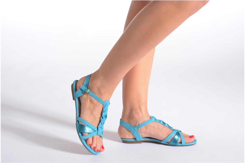 Sandales et nu-pieds Refresh Rafia Bleu vue bas / vue portée sac