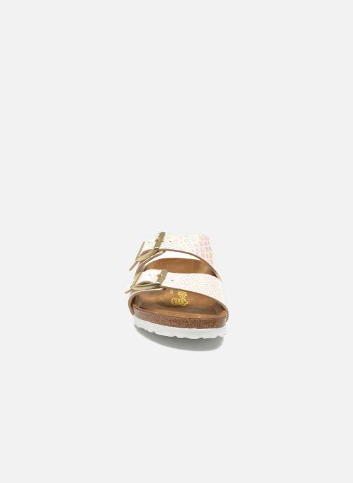 Clogs & Pantoletten Birkenstock Arizona Flor W beige schuhe getragen