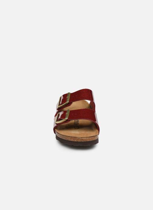 Mules et sabots Birkenstock Arizona Flor W Rouge vue portées chaussures