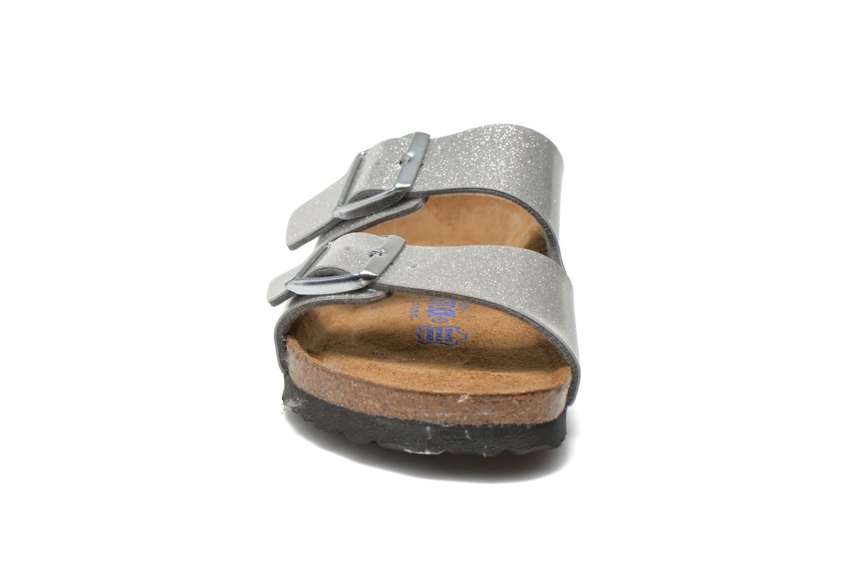 Clogs & Pantoletten Birkenstock Arizona Flor W silber schuhe getragen