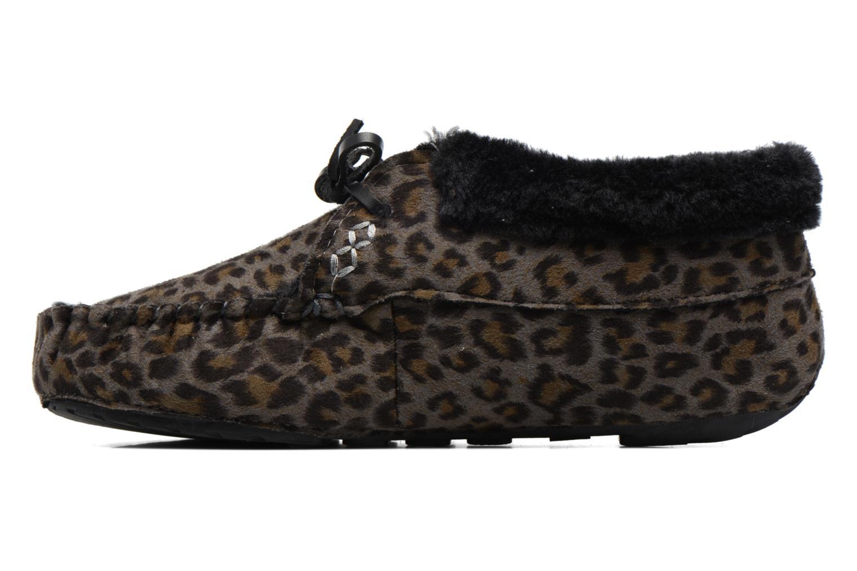 Hausschuhe Ruby Brown Mocassin Leopard grau ansicht von vorne