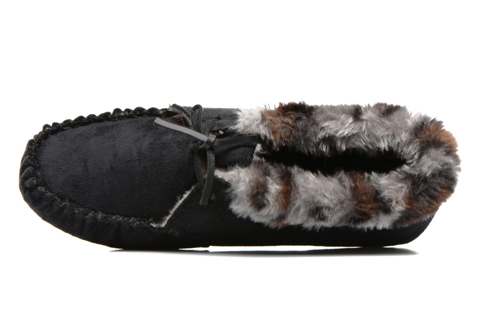 Slippers Ruby Brown Mocassin leopard collar Black view from the left