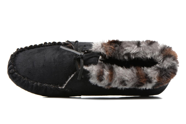 Chaussons Ruby Brown Mocassin leopard collar Noir vue gauche