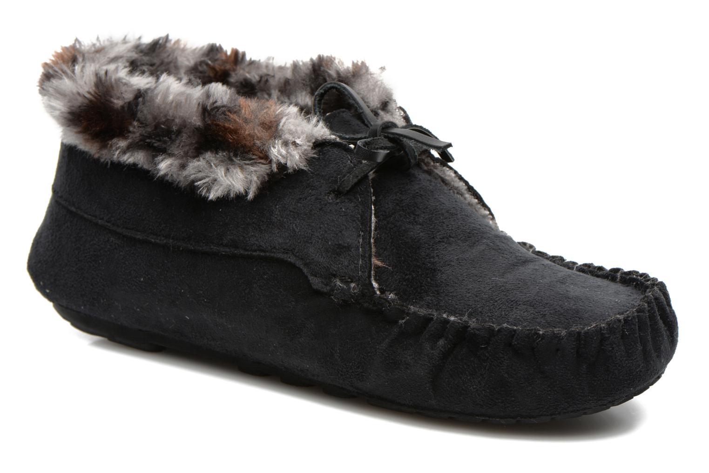 Chaussons Ruby Brown Mocassin leopard collar Noir vue détail/paire