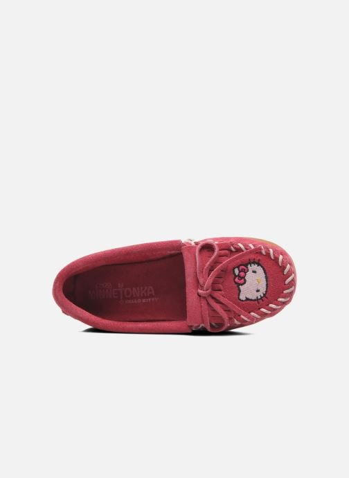 Mocasines Minnetonka Hello Kitty Moc Rosa vista lateral izquierda