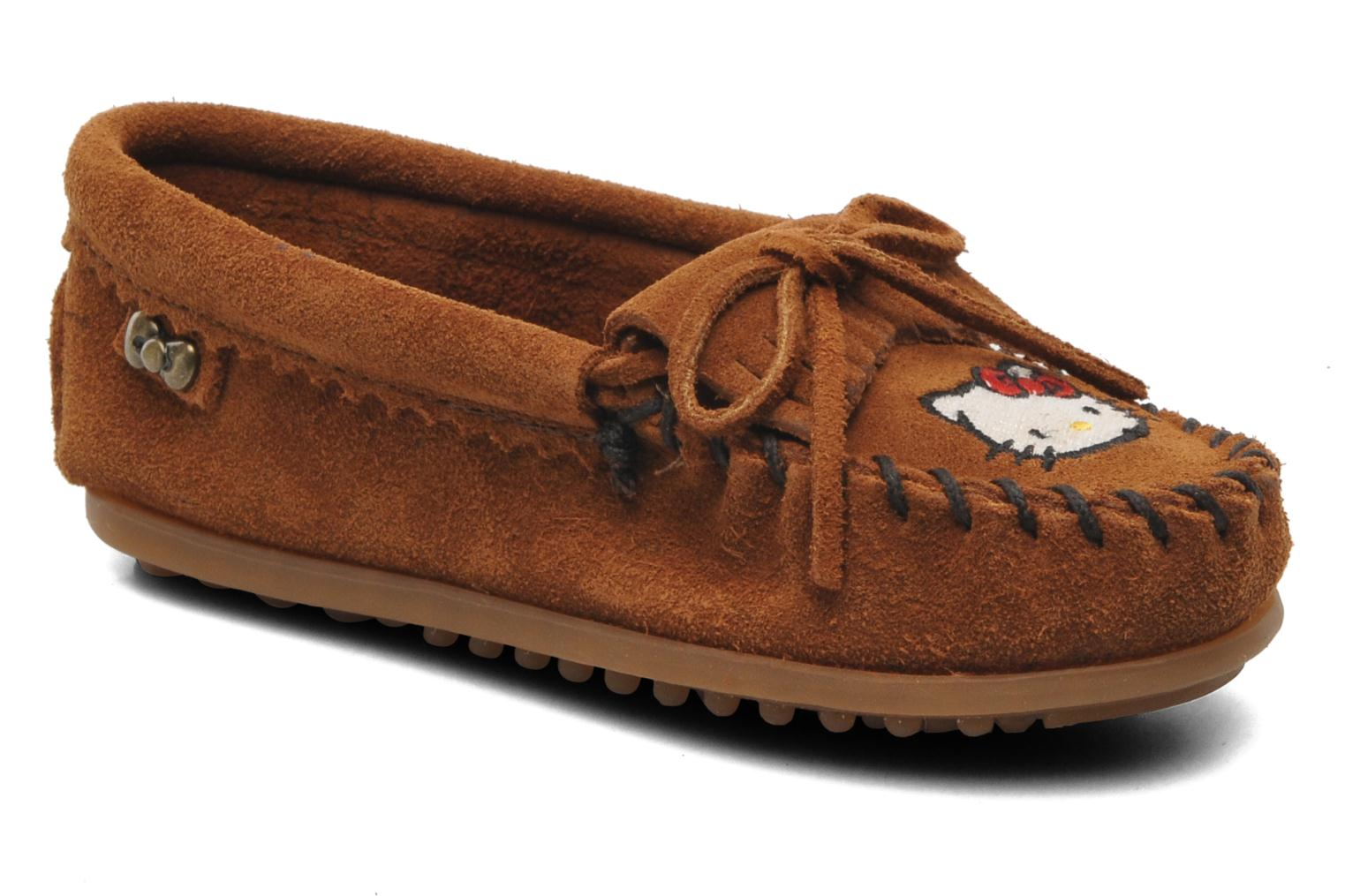 Loafers Minnetonka Hello Kitty Moc Brown detailed view/ Pair view