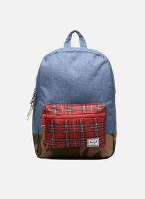 Navy Crosshatch/Red Plaid