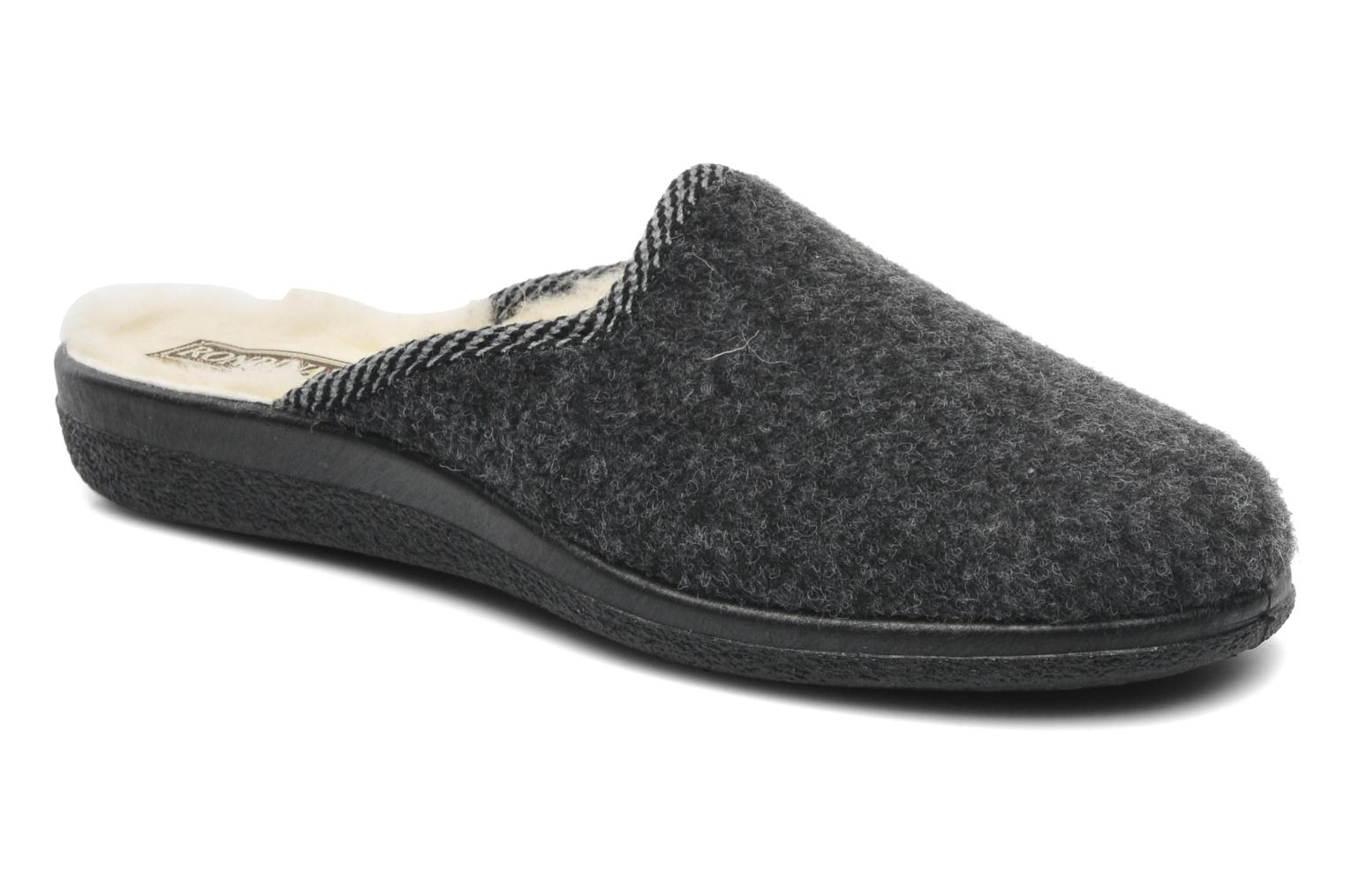 Slippers Rondinaud Gabillou Grey detailed view/ Pair view