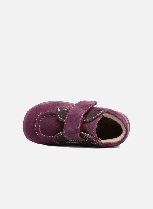 Zapatos con velcro Kickers Bono Violeta      vista lateral izquierda