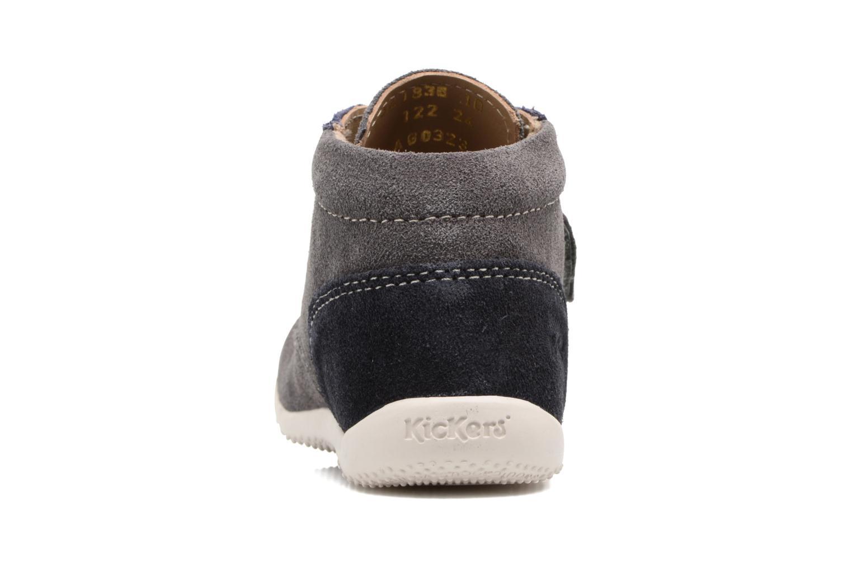 Zapatos con velcro Kickers Bono Gris vista lateral derecha