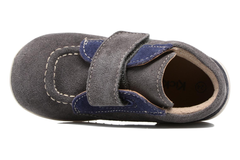 Zapatos con velcro Kickers Bono Gris vista lateral izquierda