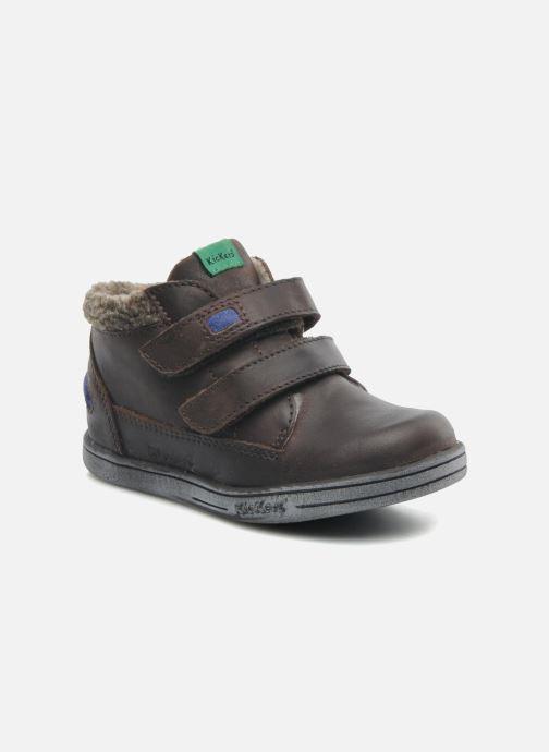 Schoenen met klitteband Kickers Talker Cho Bruin detail