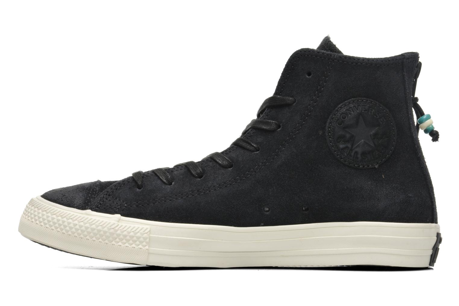 Trainers Converse Chuck Taylor Burnished Suede Double Zip Hi M Black front view