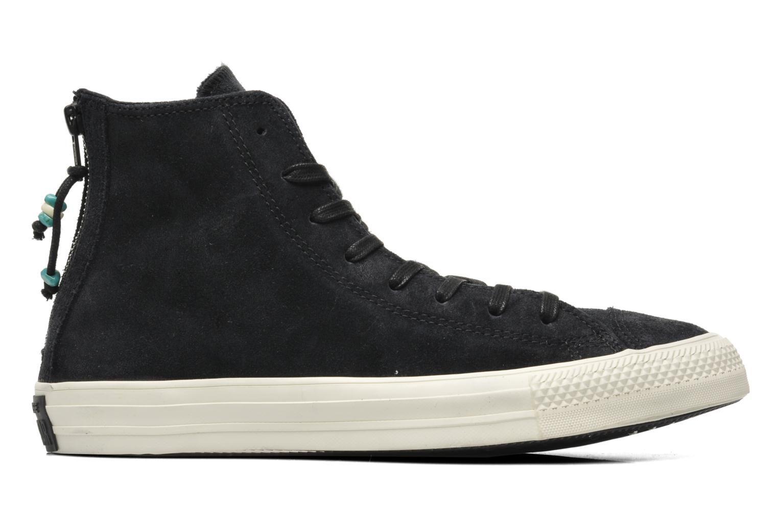 Trainers Converse Chuck Taylor Burnished Suede Double Zip Hi M Black back view