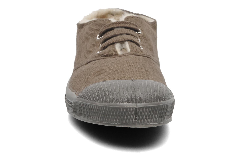 Baskets Bensimon Tennis Lacets Fourrées E Marron vue portées chaussures
