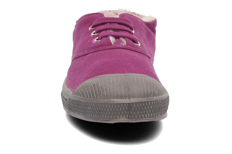 Baskets Bensimon Tennis Lacets Fourrées E Bordeaux vue portées chaussures