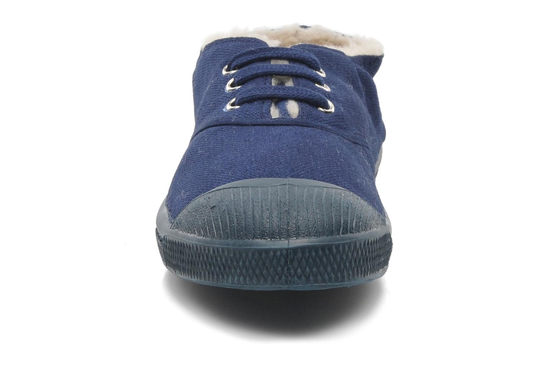 Baskets Bensimon Tennis Lacets Fourrées E Bleu vue portées chaussures