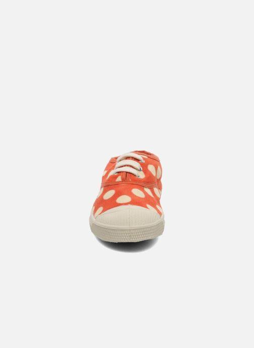 Sneakers Bensimon Tennis Velours Pois E Arancione modello indossato