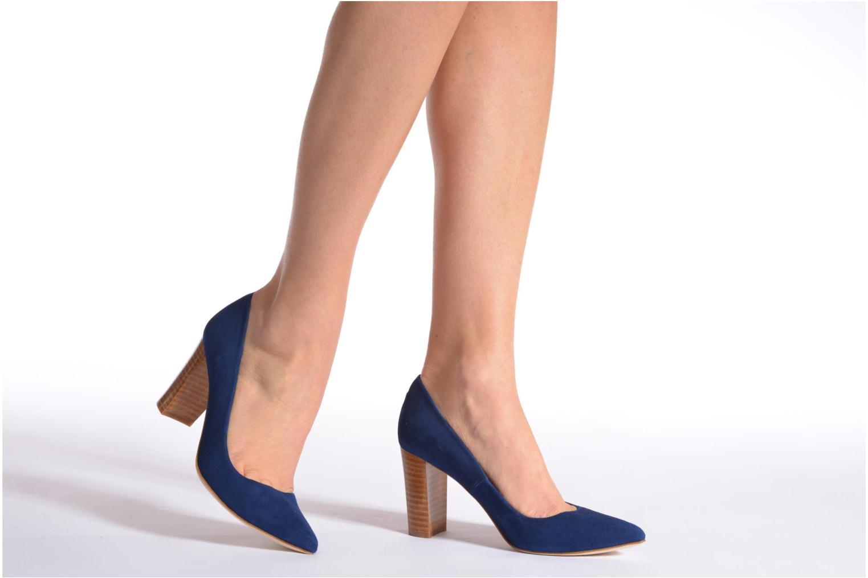 Escarpins Made by SARENZA Glaçons citrons #16 Bleu vue bas / vue portée sac