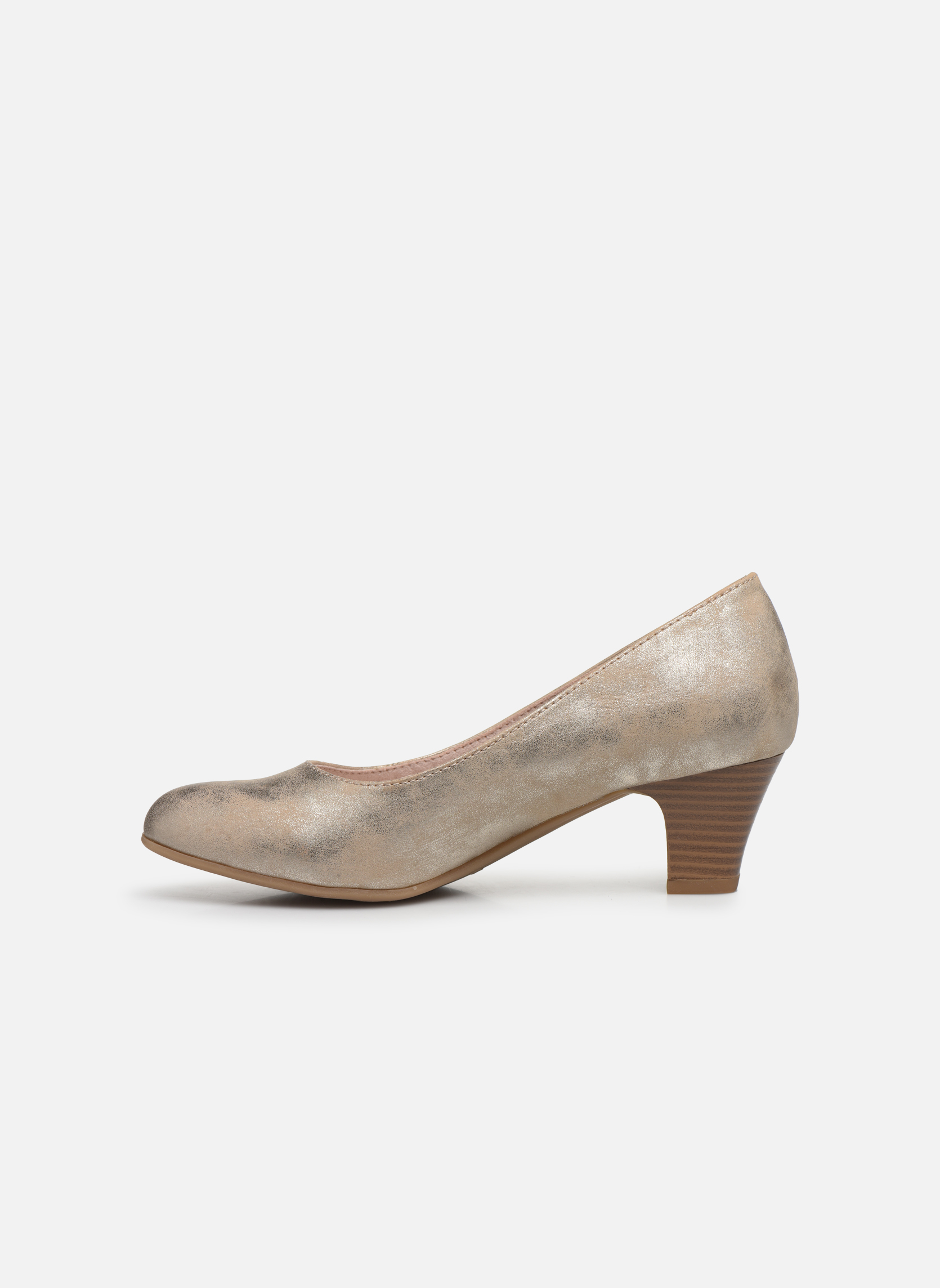 High heels Jana shoes Anis Bronze and Gold front view