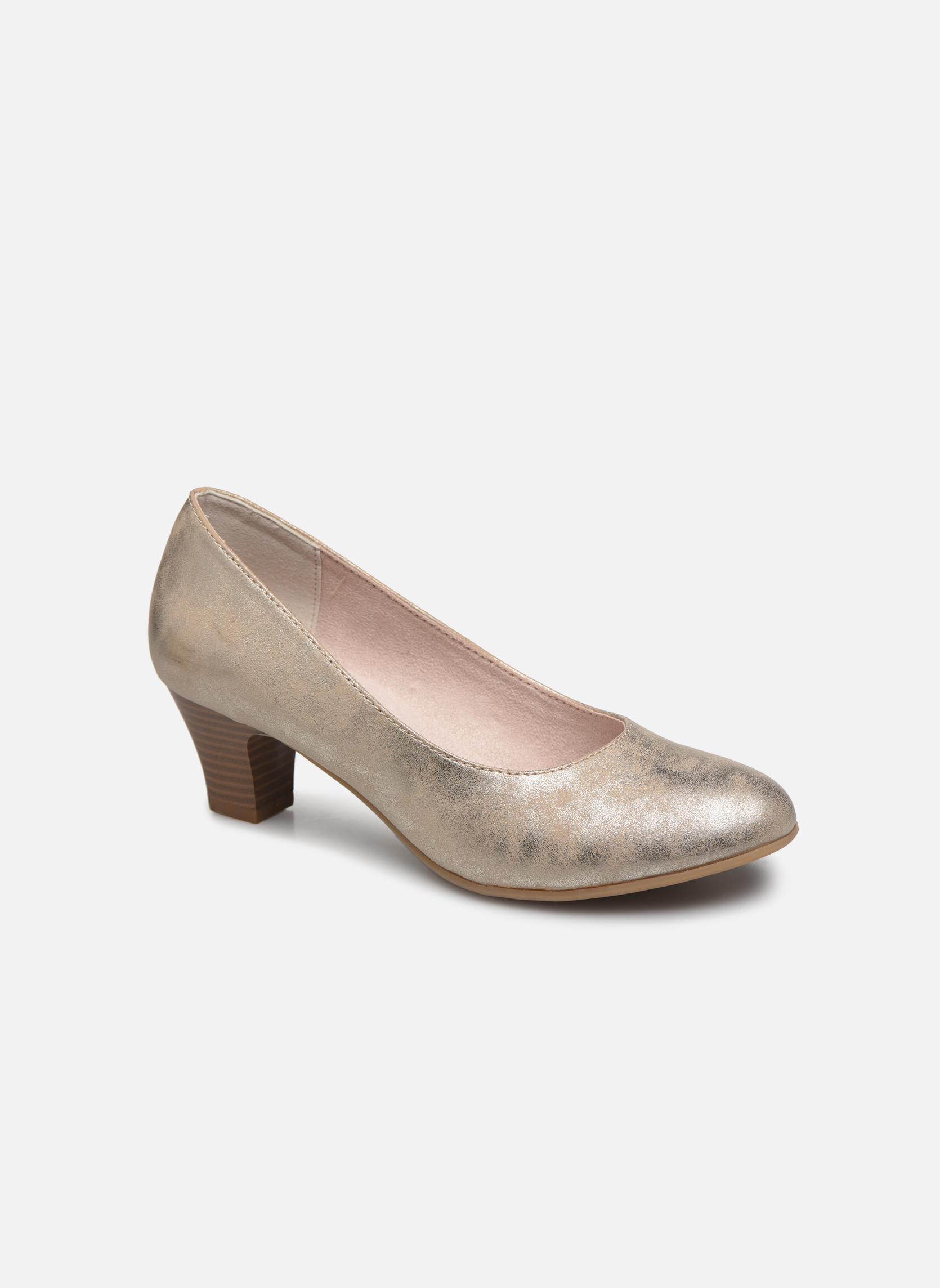 High heels Jana shoes Anis Bronze and Gold detailed view/ Pair view