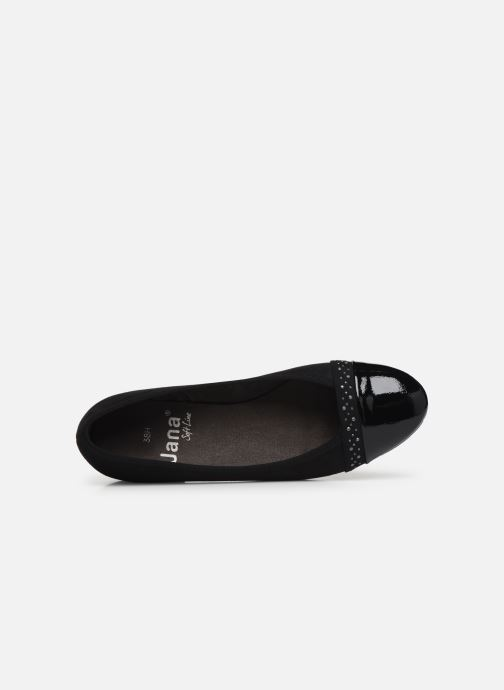 Ballet pumps Jana shoes Glitter Black view from the left